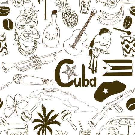 cuban cigar: Fun sketch Cuban seamless pattern Illustration