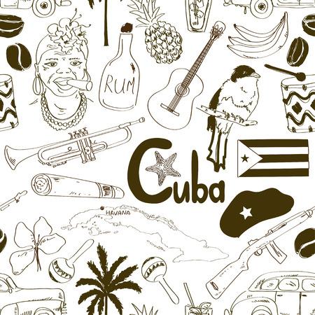cuban flag: Fun sketch Cuban seamless pattern Illustration