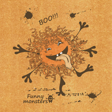 Retro sketch illustration with funny monster Vector