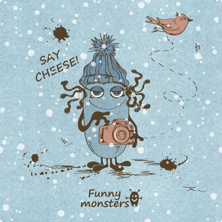 say cheese: Winter retro sketch illustration with funny monster takes a picture