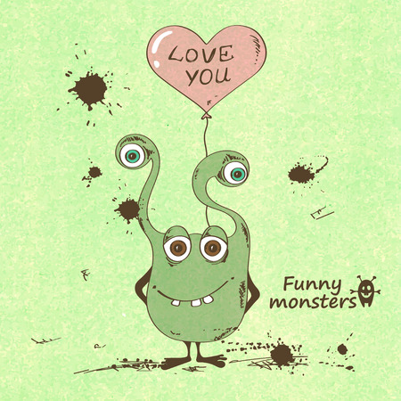 Retro sketch illustration with funny monster holding a heart shape balloon Vector