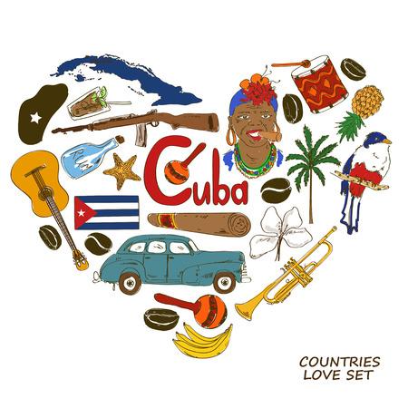bandera cuba: Colorida colecci�n esbozo de s�mbolos cubanos. Concepto de forma de coraz�n. Viajes de fondo