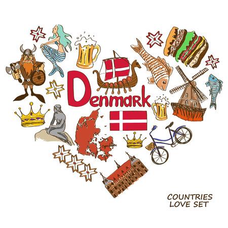 덴마크어 심볼의 다채로운 스케치 컬렉션입니다. 심장 모양 개념. 여행 배경 일러스트