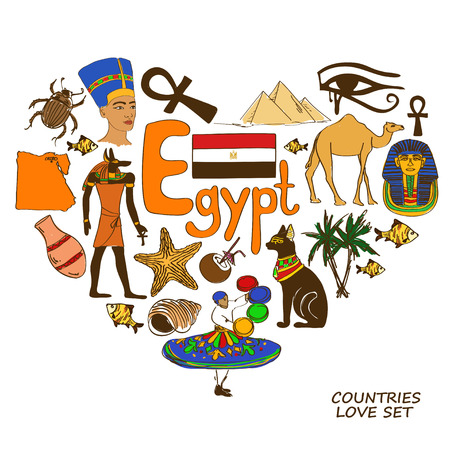 Colorful sketch collection of Egyptian symbols. Heart shape concept. Travel background Vector