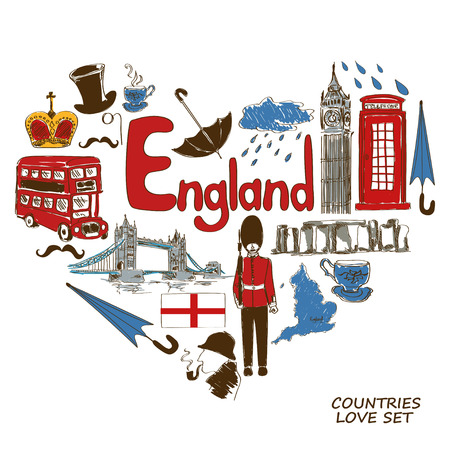royal guard: Colorful sketch collection of English symbols. Heart shape concept. Travel background Illustration