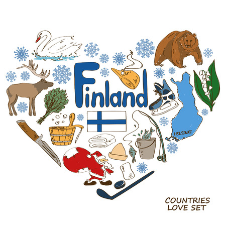 Colorful sketch collection of Finland symbols. Heart shape concept. Travel background Vettoriali