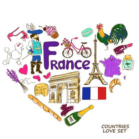 mosquetero: Colorida colecci�n boceto de los s�mbolos franceses. Concepto de forma de coraz�n. Viajes de fondo Vectores
