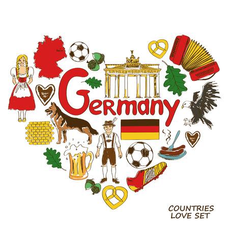 Colorful sketch collection of German symbols. Heart shape concept. Travel background Illustration