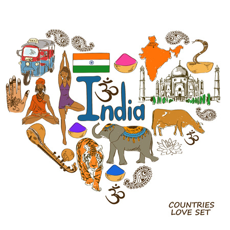 Colorful sketch collection of Indian symbols. Heart shape concept. Travel background Vector