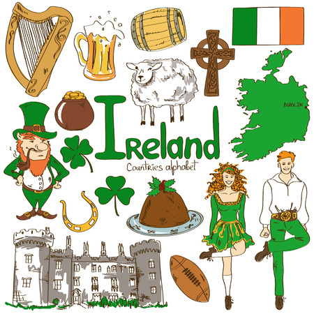 Fun colorful sketch collection of Irish icons, countries alphabet