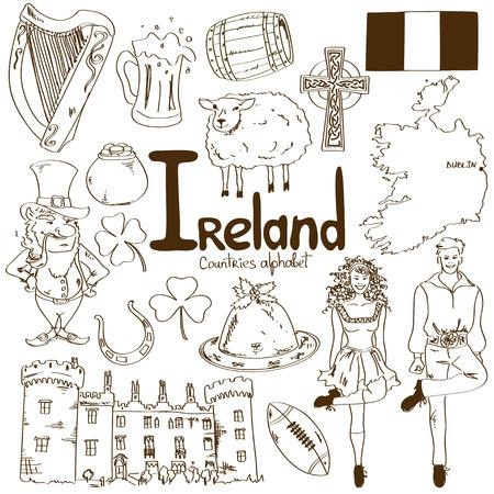 Fun sketch collection of Irish icons, countries alphabet