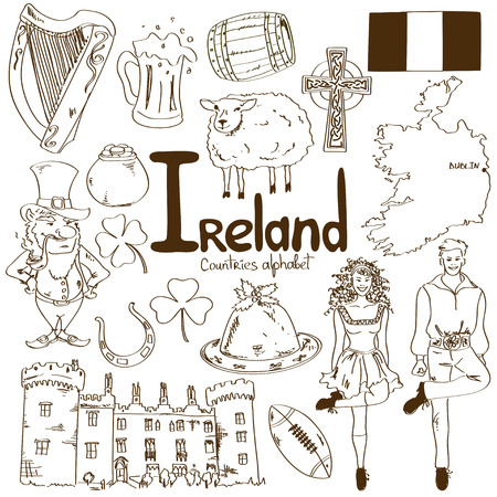 Fun sketch collection of Irish icons, countries alphabet