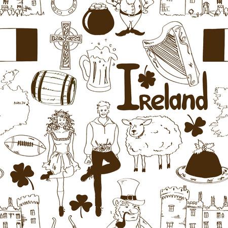irish woman: Fun sketch Irish symbols seamless pattern