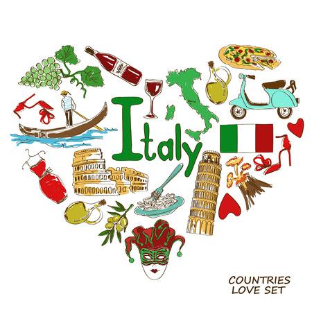 イタリアのシンボルのカラフルなスケッチのコレクション。ハート形の概念。旅行の背景