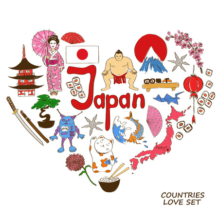 maneki neko: Colorful sketch collection of Japanese symbols. Heart shape concept. Travel background