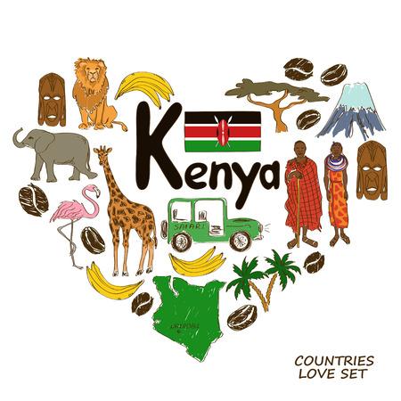 kenya: Colorful sketch collection of Kenyan symbols. Heart shape concept. Travel background Illustration