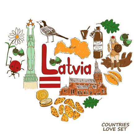 baltic: Colorful sketch collection of Latvian symbols. Heart shape concept. Travel background