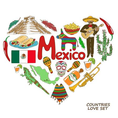 멕시코 심볼의 다채로운 스케치 컬렉션입니다. 심장 모양 개념. 여행 배경 일러스트