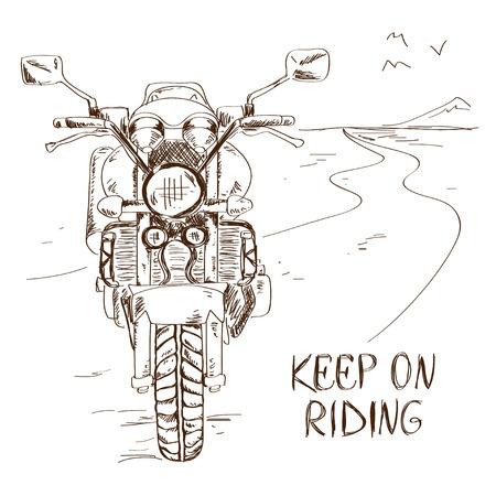 jinete: Dibujado a mano ilustraci�n boceto con la moto de pie en el camino. Concepto de la libertad