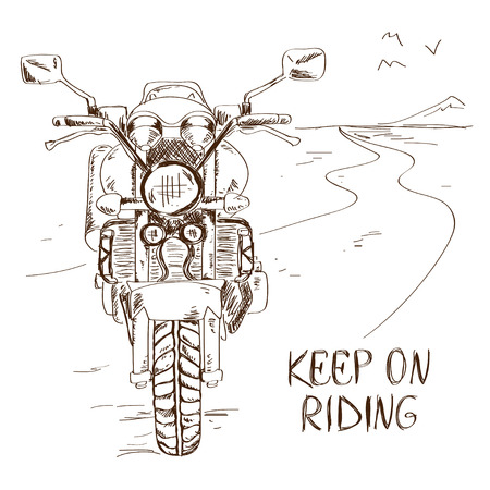 Hand drawn sketch illustration with motorbike standing on the road. Freedom concept Illustration