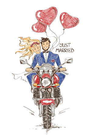 honeymoon: Colorful funny sketch illustration with just married couple riding on a motorbike and heart shape air balloons. Hand drawn wedding card or invitation