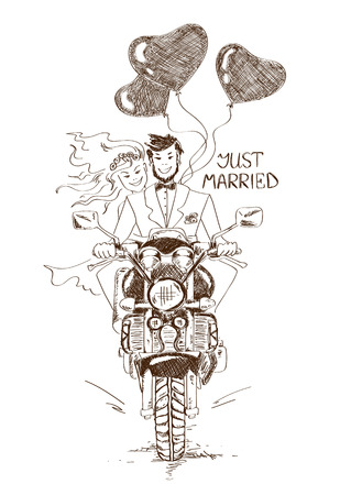 just married: Funny sketch illustration with just married couple riding on a motorbike and heart shape air balloons. Hand drawn wedding card or invitation