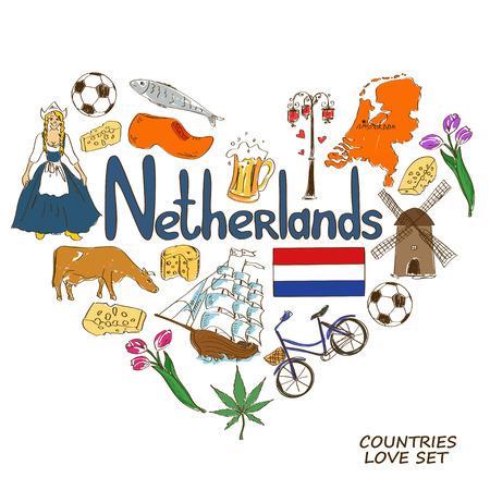 Colorful sketch collection of Netherlands symbols. Heart shape concept. Travel background Illustration