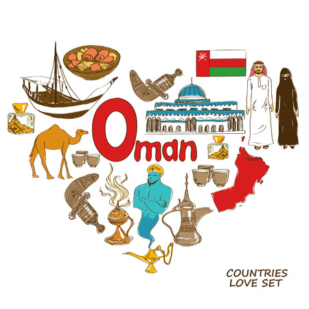 oman background: Colorful sketch collection of Oman symbols. Heart shape concept. Travel background
