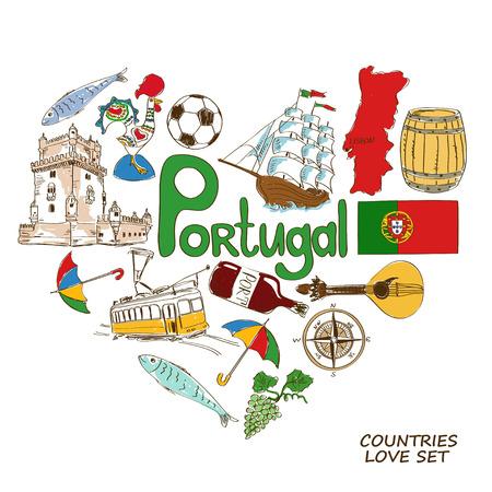 bandera de portugal: Colorida colección esbozo de símbolos portugueses. Concepto de forma de corazón. Viajes de fondo