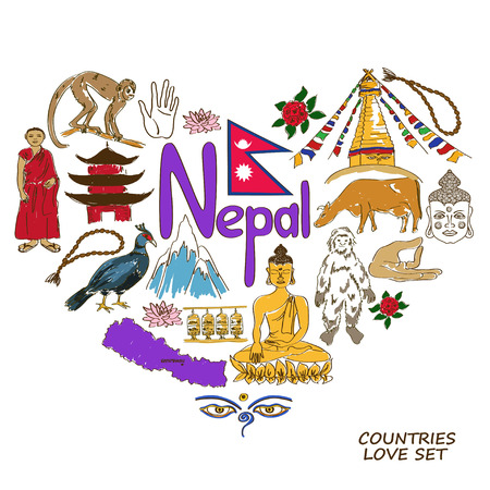 Colorful sketch collection of Nepal symbols. Heart shape concept. Travel background