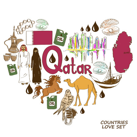 qatar: Colorful sketch collection of Qatar symbols. Heart shape concept. Travel background