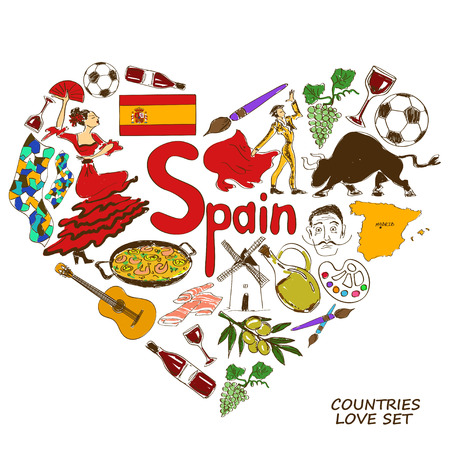 barcelona spain: Colorful sketch collection of Spanish symbols. Heart shape concept. Travel background