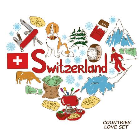 alpes suizos: Colorida colecci�n esbozo de s�mbolos suizos. Concepto de forma de coraz�n. Viajes de fondo