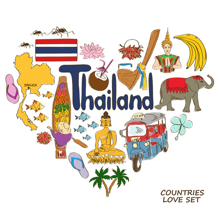Colorful sketch collection of Thailand symbols. Heart shape concept. Travel background
