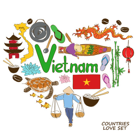 Colorful sketch collection of Vietnamese symbols. Heart shape concept. Travel background