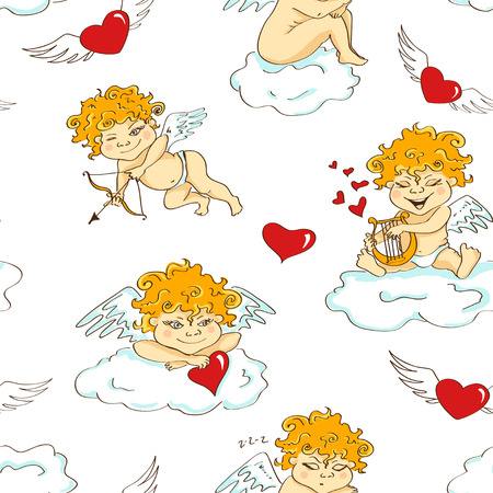 amur: Love seamless pattern with funny cartoon cupids, hearts and clouds