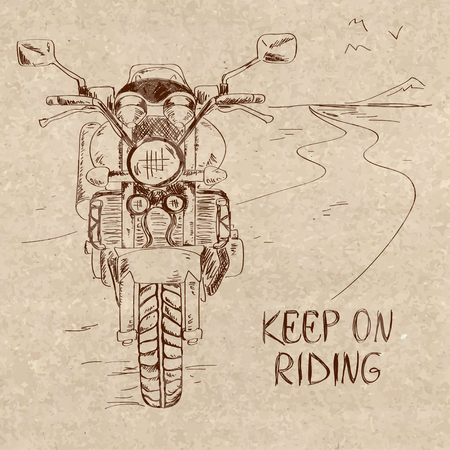old school bike: Retro hand drawn sketch illustration with motorbike standing on the road. Freedom concept
