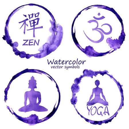 요가와 불교 레이블 아이콘 벡터 수채화 세트. 옴, 선, 부처와 요가 표지판 디자인 컨셉 일러스트