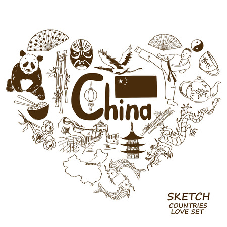 great wall: Sketch collection of Chinese symbols in heart shape concept. Travel background