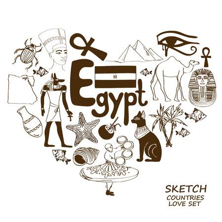 ojo de horus: Colección del bosquejo de símbolos egipcios. Concepto de forma de corazón. Viajes de fondo