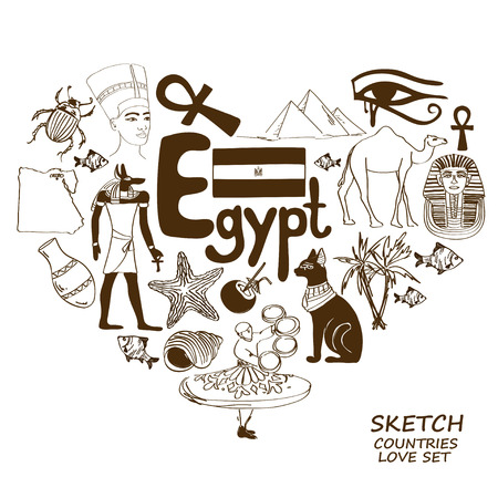 egypt anubis: Sketch collection of Egyptian symbols. Heart shape concept. Travel background