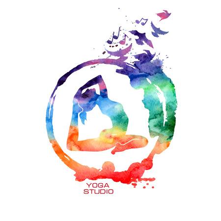 simbolo de la paz: Vector de la acuarela del arco iris etiqueta con el s�mbolo del zen creativo y pose de yoga