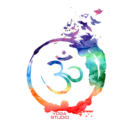 Vector watercolor isolated Om sign label. Rainbow Yoga concept Vettoriali