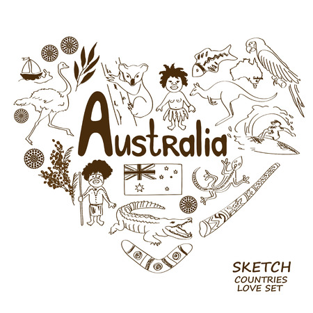 wallaby: Sketch collection of Australian symbols in heart shape concept. Travel background