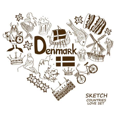 hamlet: Sketch collection of Danish symbols. Heart shape concept. Travel background Illustration