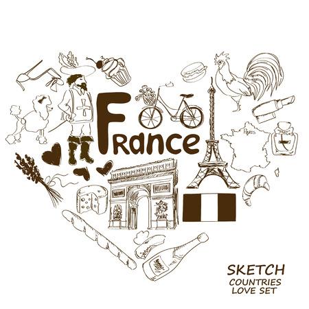 mosquetero: Colección del bosquejo de los símbolos franceses. Concepto de forma de corazón. Viajes de fondo Vectores