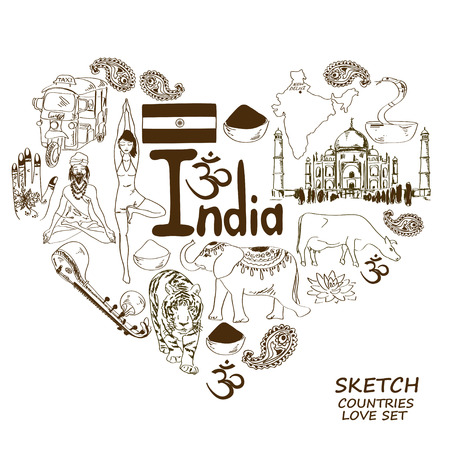 Sketch collection of Indian symbols. Heart shape concept. Travel background Vector