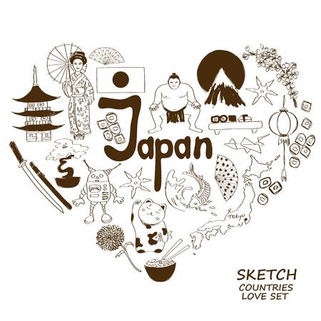 maneki neko: Sketch collection of Japanese symbols. Heart shape concept. Travel background