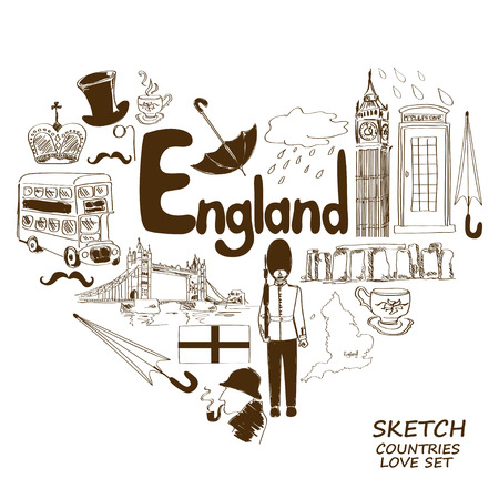 Sketch collection of English symbols. Heart shape concept. Travel background Illustration