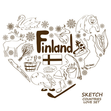 finland: Sketch collection of Finland symbols. Heart shape concept. Travel background